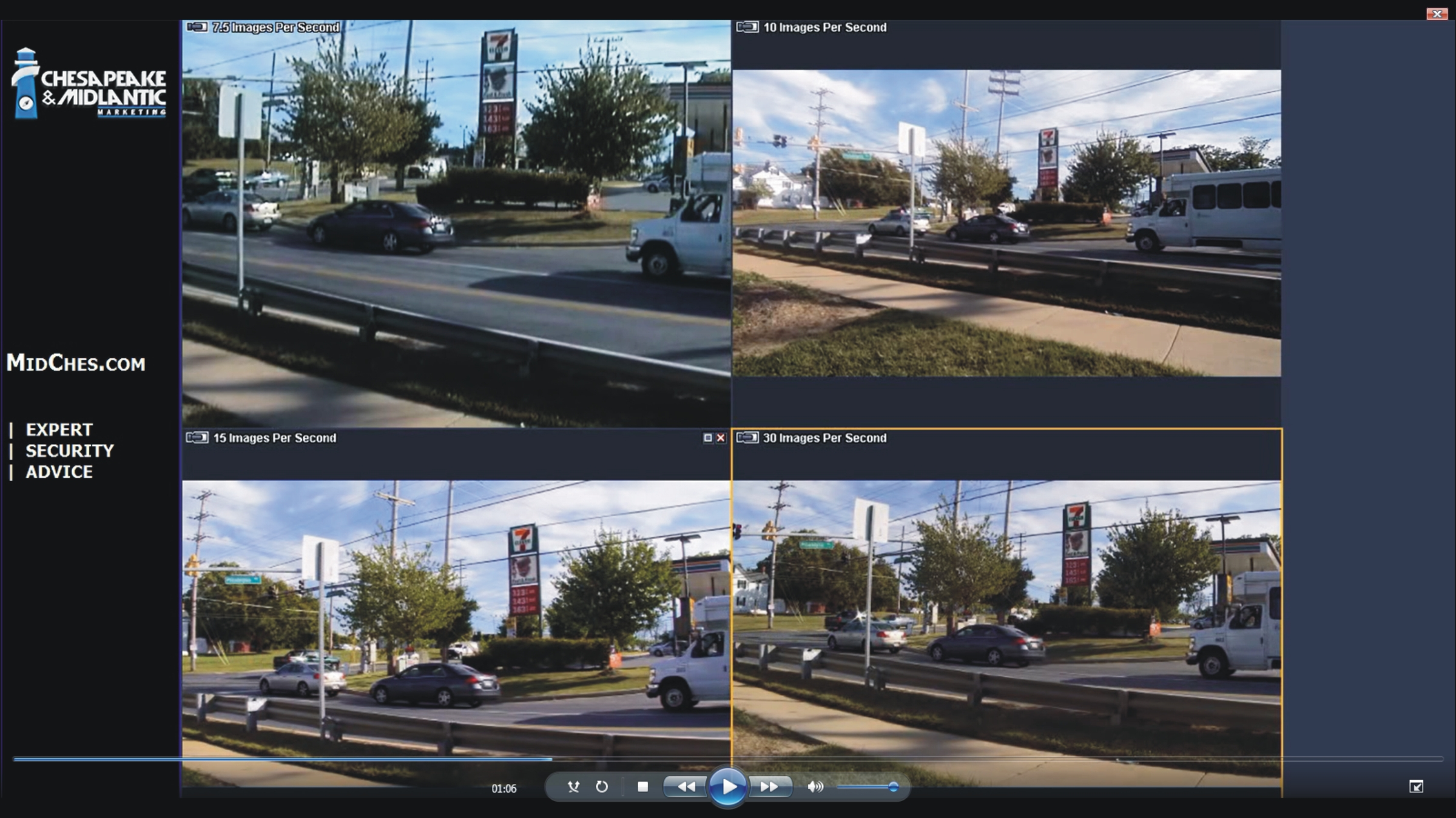 How many images per second for IP video security cameras?
