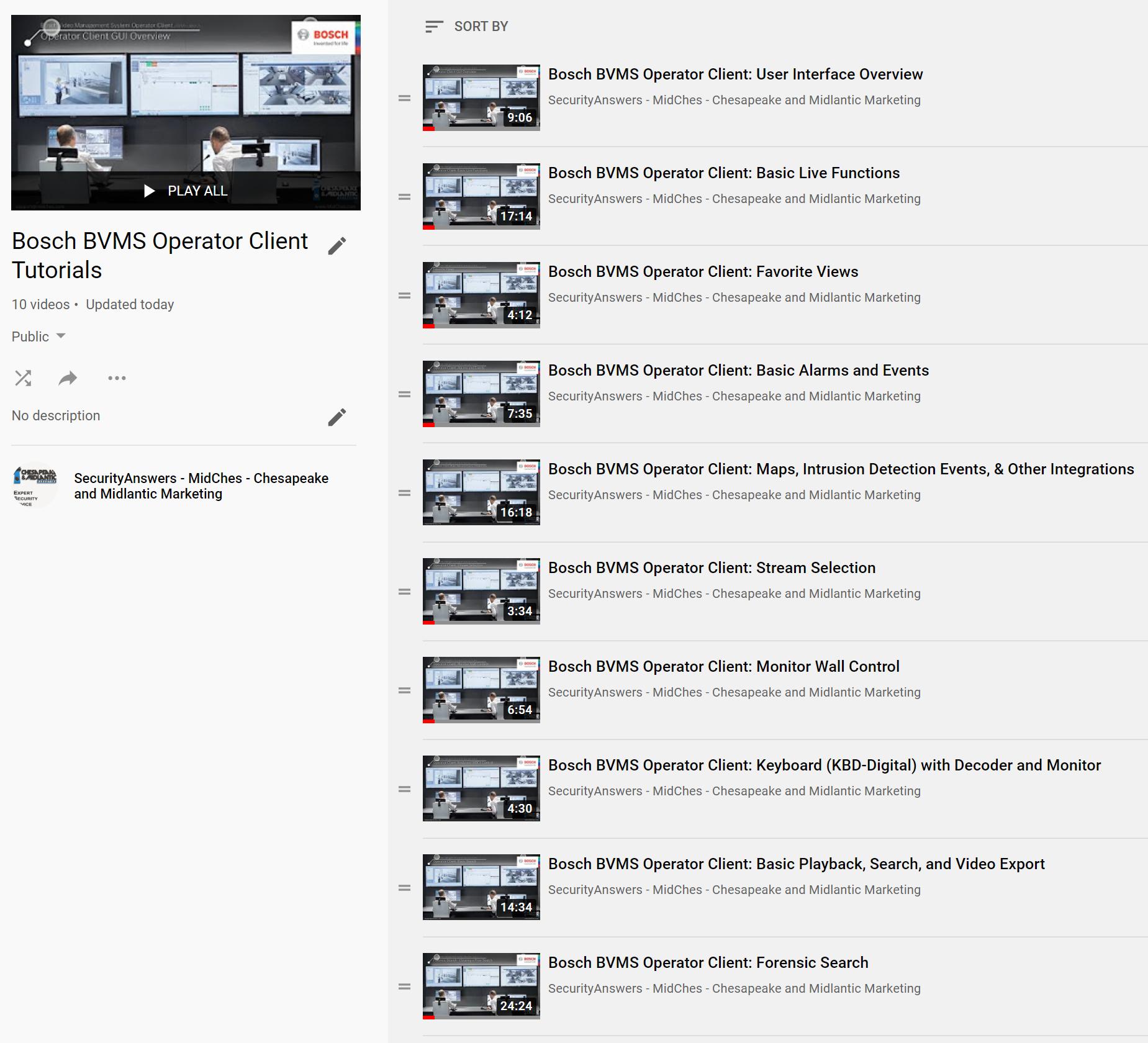 Bosch BVMS Operator Client Tutorials playlist thumbnail