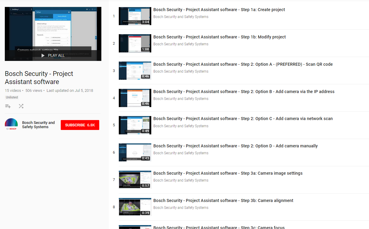 Bosch Project Assistant Software tutorial video links