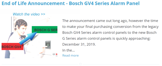End of Life Announcement - Bosch GV4 Series Alarm Panel