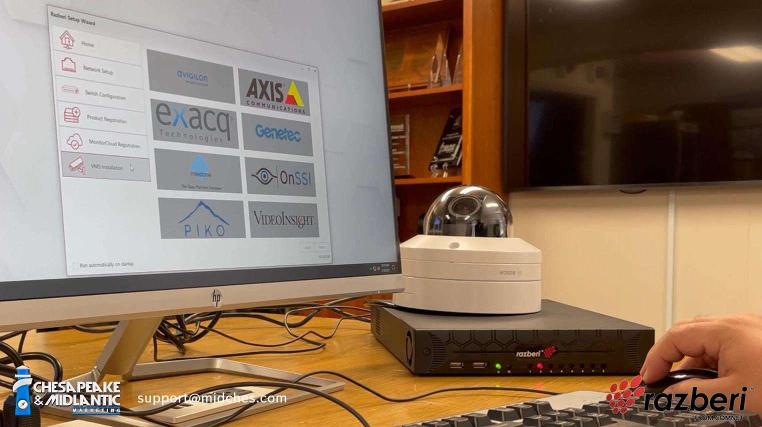 Razberi VMS choice screen with Bosch camera image - small