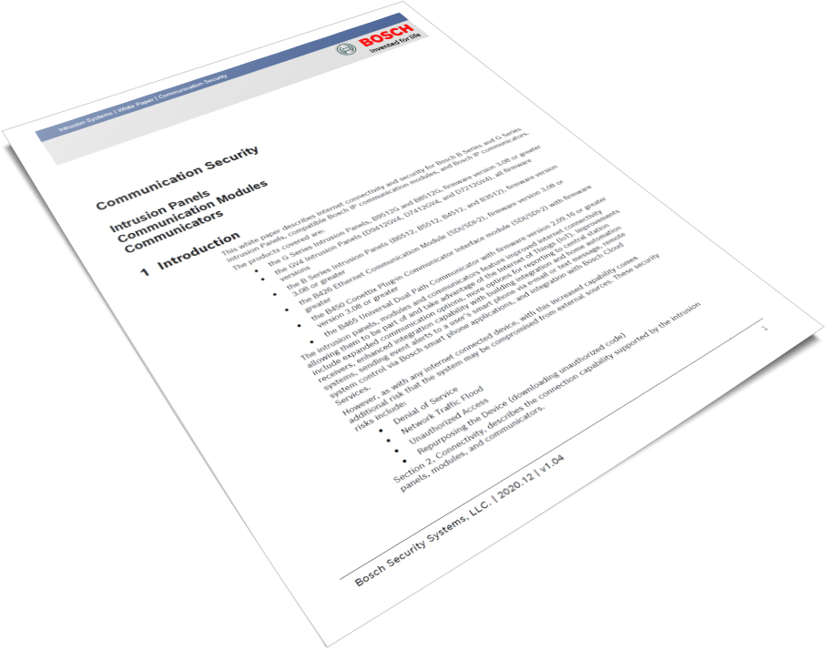 The Security of Intrusion Alarm Communications White Paper cover