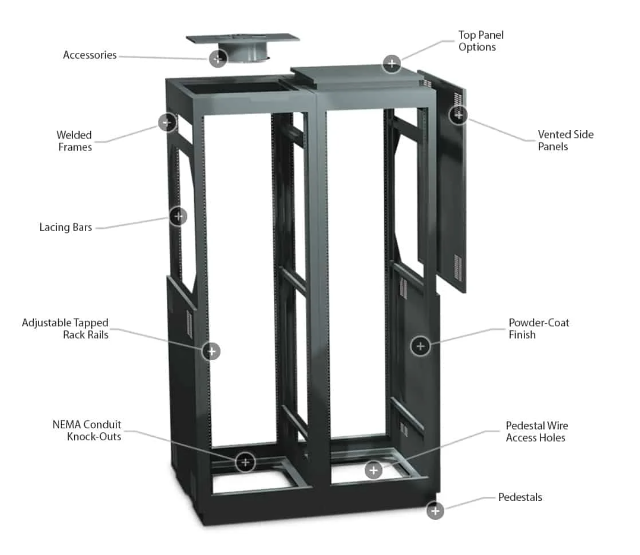 Winsted Pro Series II Equipment Racks features and accessories diagram