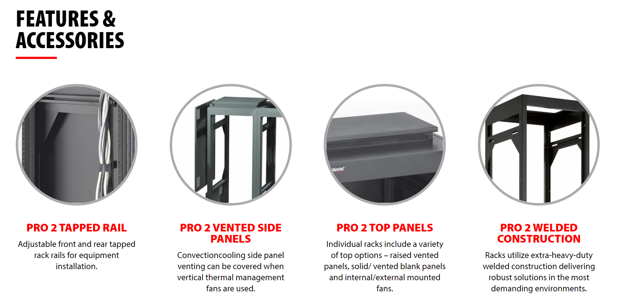 Winsted Pro Series II Equipment Racks features and accessories