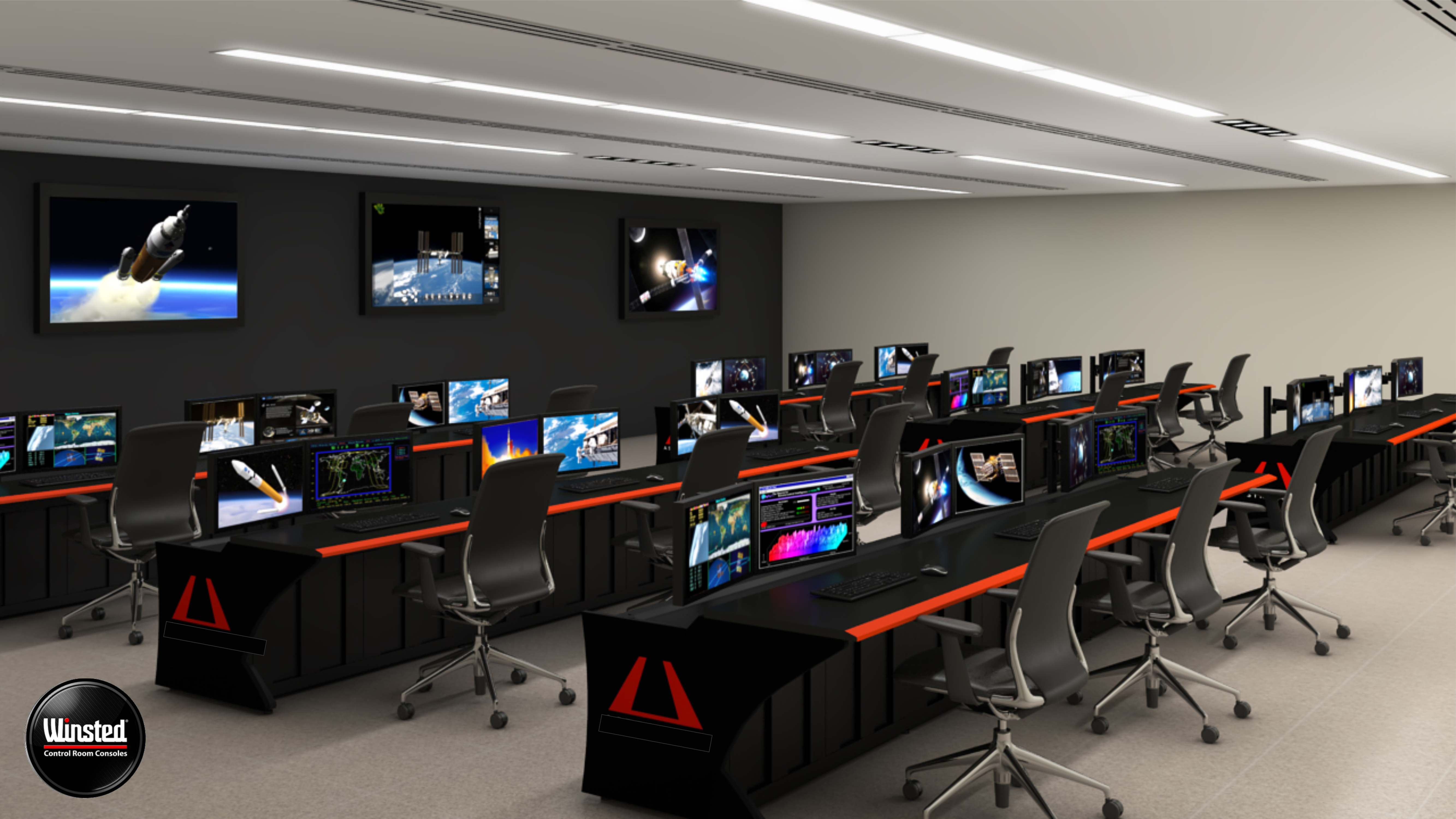 Winsted mission control room - custom end panels